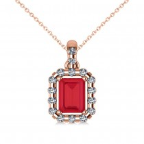 Diamond & Emerald Cut Ruby Halo Pendant Necklace 14k Rose Gold (1.39ct)