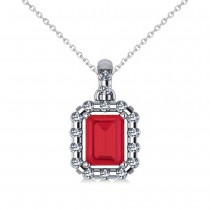 Diamond & Emerald Cut Ruby Halo Pendant 14k White Gold (1.39ct)