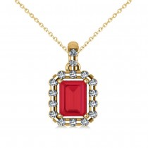 Diamond & Emerald Cut Ruby Halo Pendant Necklace 14k Yellow Gold (1.39ct)