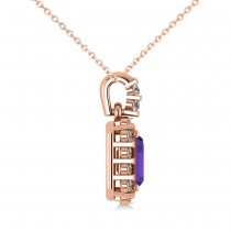 Diamond & Emerald Cut Tanzanite Halo Pendant Necklace 14k Rose Gold (1.39ct)