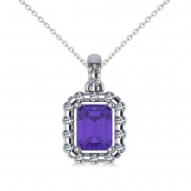 Diamond & Emerald Cut Tanzanite Halo Pendant 14k White Gold (1.39ct)
