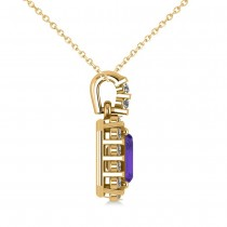 Diamond & Emerald Cut Tanzanite Halo Pendant Necklace 14k Yellow Gold (1.39ct)
