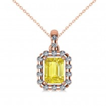 Diamond & Emerald Cut Yellow Sapphire Halo Pendant Necklace 14k Rose Gold (1.39ct)