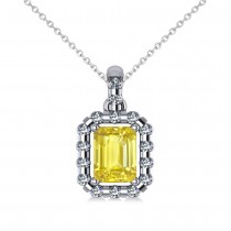 Diamond & Emerald Cut Yellow Sapphire Halo Pendant 14k White Gold (1.39ct)
