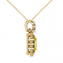 Diamond & Emerald Cut Yellow Sapphire Halo Pendant Necklace 14k Yellow Gold (1.39ct)