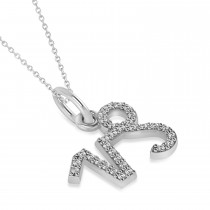 Capricorn Zodiac Diamond Pendant Necklace 14k White Gold (0.155ct)