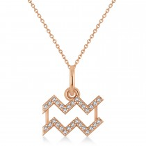 Aquarius Zodiac Diamond Pendant Necklace 14k Rose Gold (0.15ct)