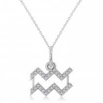 Aquarius Zodiac Diamond Pendant Necklace 14k White Gold (0.15ct)