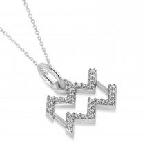 Aquarius Zodiac Diamond Pendant Necklace 14k White Gold (0.15ct)