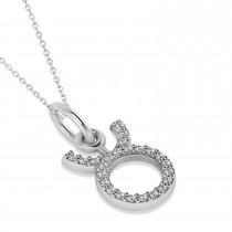 Taurus Zodiac Diamond Pendant Necklace 14k White Gold (0.12ct)