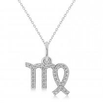 Virgo Zodiac Diamond Pendant Necklace 14k White Gold (0.18ct)