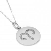 Diamond Aries Zodiac Disk Pendant Necklace 14k White Gold (0.095ct)