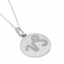 Diamond Capricorn Zodiac Disk Pendant Necklace 14k White Gold (0.12ct)