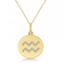 Diamond Aquarius Zodiac Disk Pendant Necklace 14k Yellow Gold (0.10ct)
