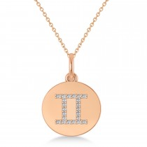 Diamond Gemini Zodiac Disk Pendant Necklace 14k Rose Gold (0.11ct)