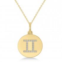 Diamond Gemini Zodiac Disk Pendant Necklace 14k Yellow Gold (0.11ct)