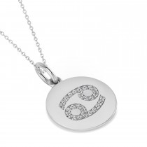 Diamond Cancer Zodiac Disk Pendant Necklace 14k White Gold (0.13ct)