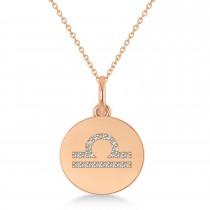 Diamond Libra Zodiac Disk Pendant Necklace 14k Rose Gold (0.105ct)