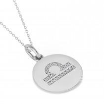 Diamond Libra Zodiac Disk Pendant Necklace 14k White Gold (0.105ct)