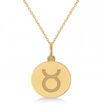 Taurus Disk Zodiac Pendant Necklace 14k Yellow Gold