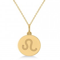 Leo Disk Zodiac Pendant Necklace 14k Yellow Gold