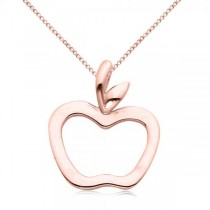 Hollow Apple Pendant Necklace in Plain Metal 14k Rose Gold