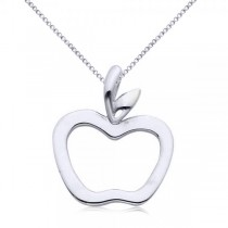 Hollow Apple Pendant Necklace in Plain Metal 14k White Gold