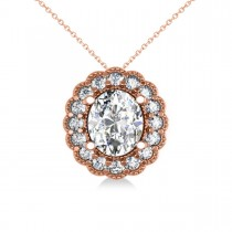 Diamond Floral Oval Halo Pendant Necklace 14k Rose Gold (2.48ct)