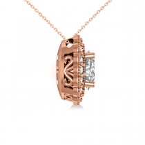 Diamond Floral Oval Halo Pendant Necklace 14k Rose Gold (2.48ct)