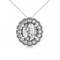 Diamond Floral Oval Halo Pendant Necklace 14k White Gold (2.48ct)