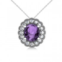 Amethyst & Diamond Floral Oval Pendant 14k White Gold (2.98ct)