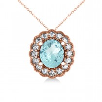 Aquamarine & Diamond Floral Oval Pendant 14k Rose Gold (2.98ct)