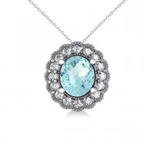 Aquamarine & Diamond Floral Oval Pendant 14k White Gold (2.98ct)