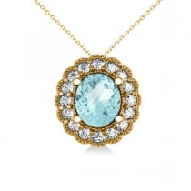 Aquamarine & Diamond Floral Oval Pendant 14k Yellow Gold (2.98ct)