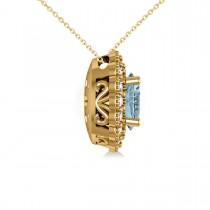 Aquamarine & Diamond Floral Oval Pendant 14k Yellow Gold (2.98ct)