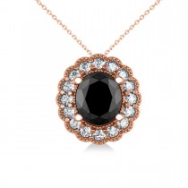 Black Diamond & Diamond Floral Oval Pendant 14k Rose Gold (2.48ct)