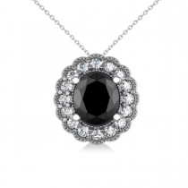 Black Diamond & Diamond Floral Oval Pendant 14k White Gold (2.48ct)