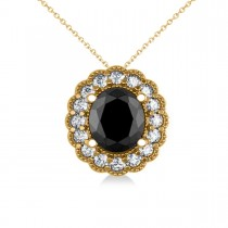 Black Diamond & Diamond Floral Oval Pendant 14k Yellow Gold (2.48ct)