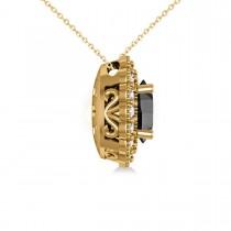 Black Diamond & Diamond Floral Oval Pendant 14k Yellow Gold (2.48ct)