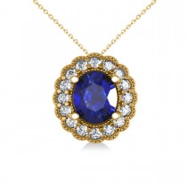 Blue Sapphire & Diamond Floral Oval Pendant 14k Yellow Gold (2.98ct)