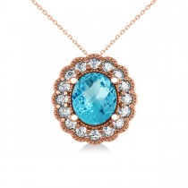 Blue Topaz & Diamond Floral Oval Pendant Necklace 14k Rose Gold (2.98ct)