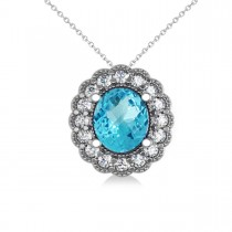 Blue Topaz & Diamond Floral Oval Pendant 14k White Gold (2.98ct)