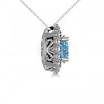 Blue Topaz & Diamond Floral Oval Pendant 14k White Gold (2.98ct)