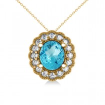 Blue Topaz & Diamond Floral Oval Pendant Necklace 14k Yellow Gold (2.98ct)