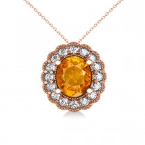 Citrine & Diamond Floral Oval Pendant 14k Rose Gold (2.98ct)