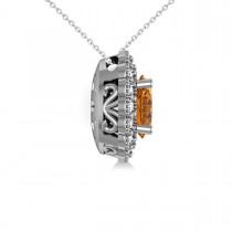 Citrine & Diamond Floral Oval Pendant 14k White Gold (2.98ct)