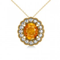 Citrine & Diamond Floral Oval Pendant 14k Yellow Gold (2.98ct)