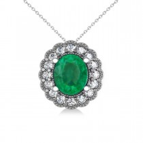 Emerald & Diamond Floral Oval Pendant 14k White Gold (2.98ct)