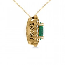 Emerald & Diamond Floral Oval Pendant Necklace 14k Yellow Gold (2.98ct)