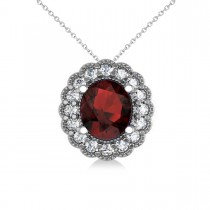 Garnet & Diamond Floral Oval Pendant 14k White Gold (2.98ct)